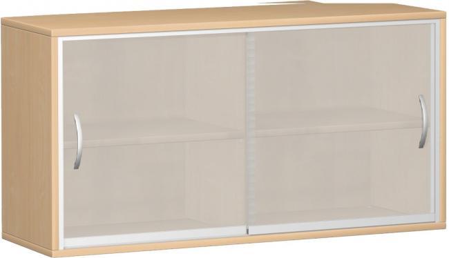 schrank mit glas schiebet ren 2 ordnerh hen 160 cm breit montiert frei haus. Black Bedroom Furniture Sets. Home Design Ideas