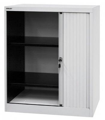 bisley quer rollladenschrank aus metall 2 ordnerh hen in lichtgrau schwarz. Black Bedroom Furniture Sets. Home Design Ideas