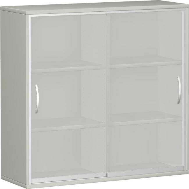 schrank mit glas schiebet ren 3 ordnerh hen 120 cm breit. Black Bedroom Furniture Sets. Home Design Ideas