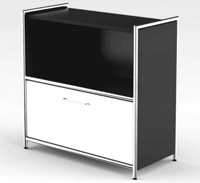 sideboard mit schublade 2 ordnerh hen anthrazit weiss breite 80 cm. Black Bedroom Furniture Sets. Home Design Ideas