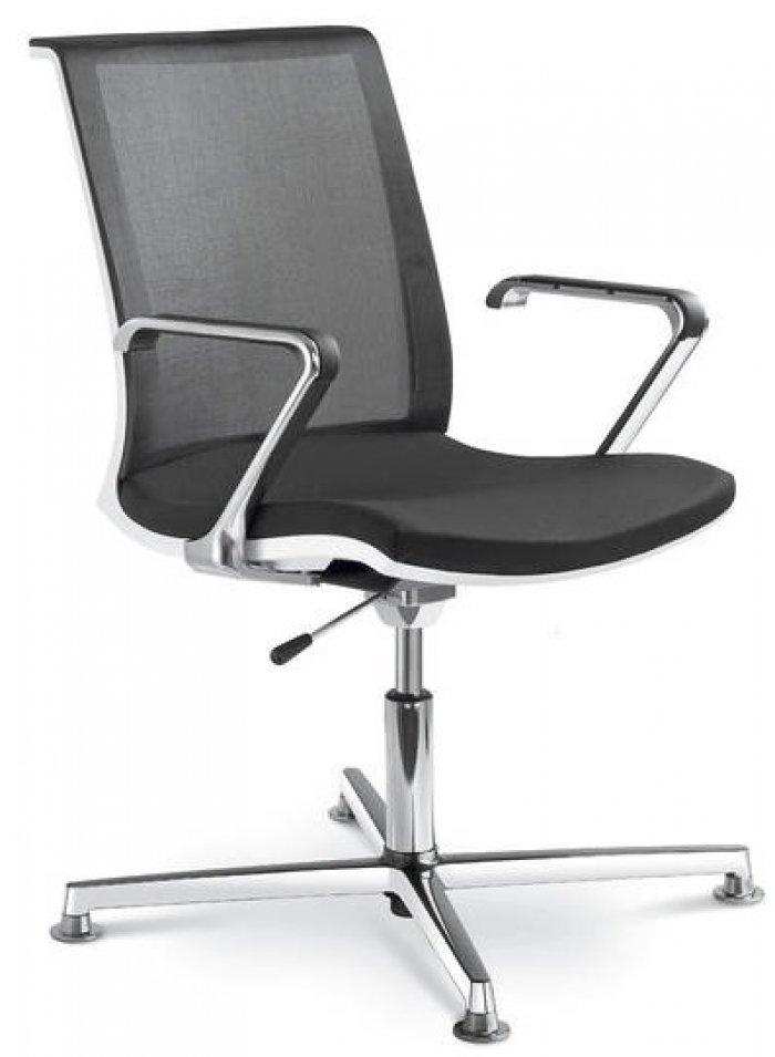 Konferenzstuhl  Konferenzstuhl LYRIC mit Fusskreuz aus Aluminium hochglanz   mit ...