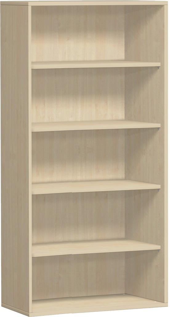 offenes regal 5 ordnerh hen 100 cm breit montiert in ahorn buche grau nus. Black Bedroom Furniture Sets. Home Design Ideas