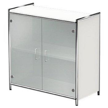 sideboard mit glast ren 2 ordnerh hen anthrazit weiss breite 80 cm. Black Bedroom Furniture Sets. Home Design Ideas