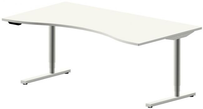 elektrisch h henverstellbarer schreibtisch style freiform ahorn buche grau. Black Bedroom Furniture Sets. Home Design Ideas